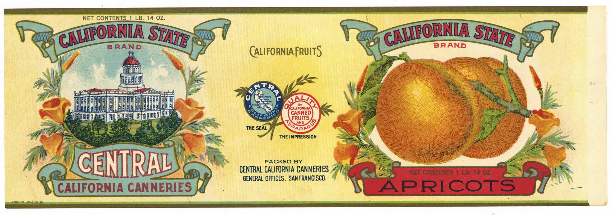 California State Brand Vintage Apricot Can Label, Capitol