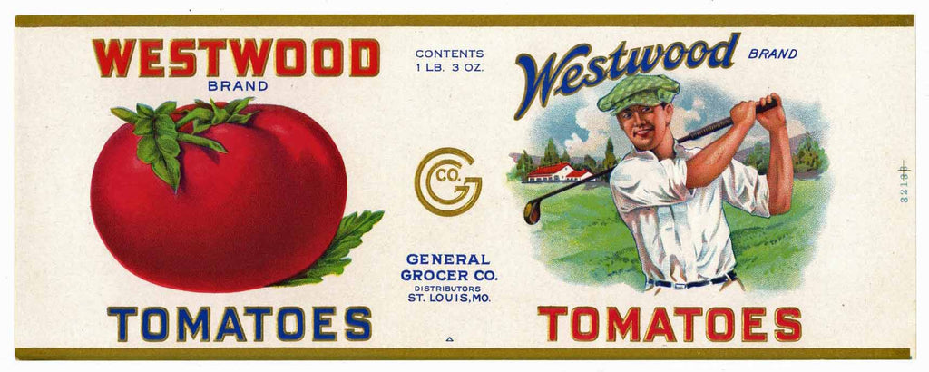 Westwood Brand Vintage Tomato Can Label