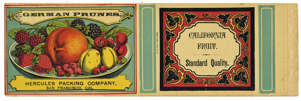 German Prunes Brand Vintage 1890s Fruit Can Label