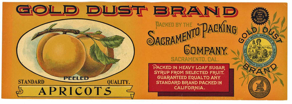 Gold Dust Brand Vintage Apricot Can Label