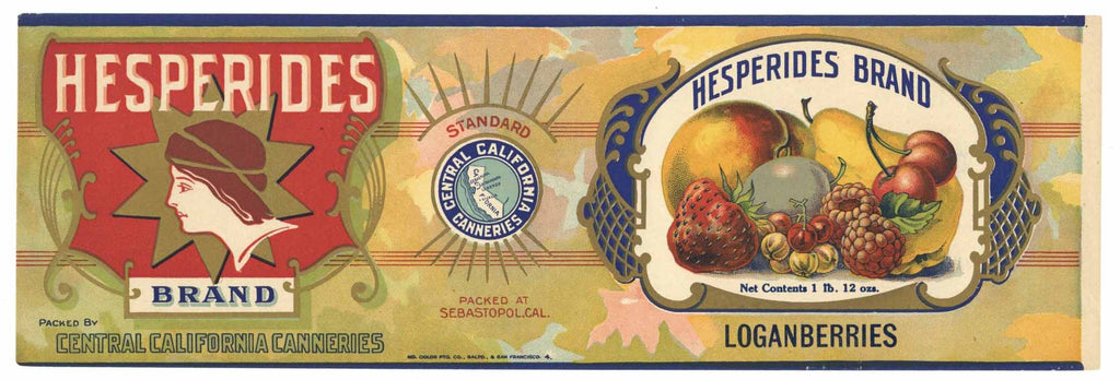 Hesperides Brand Vintage Loganberries Can Label