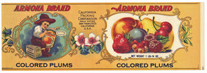 ARMONA Brand Vintage Colored Plums Can Label