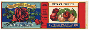 Rose Brand Vintage  Cherry Can Label, Cutting Packing Co., 1910s