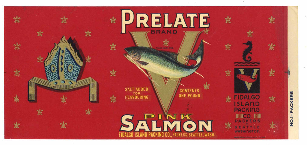 Prelate Brand Vintage Salmon Can Label