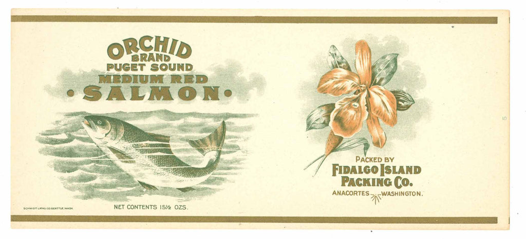 Orchid Brand Vintage Salmon Can Label