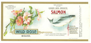 Wild Rose Brand Vintage Salmon Can Label