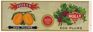 Holly Brand Vintage Egg Plums Can Label