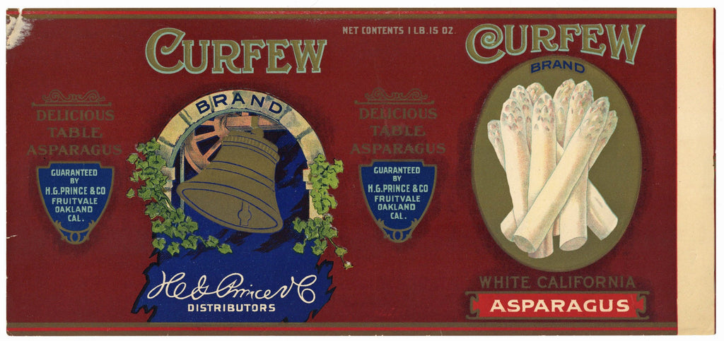 Curfew Brand Vintage Asparagus Can Label