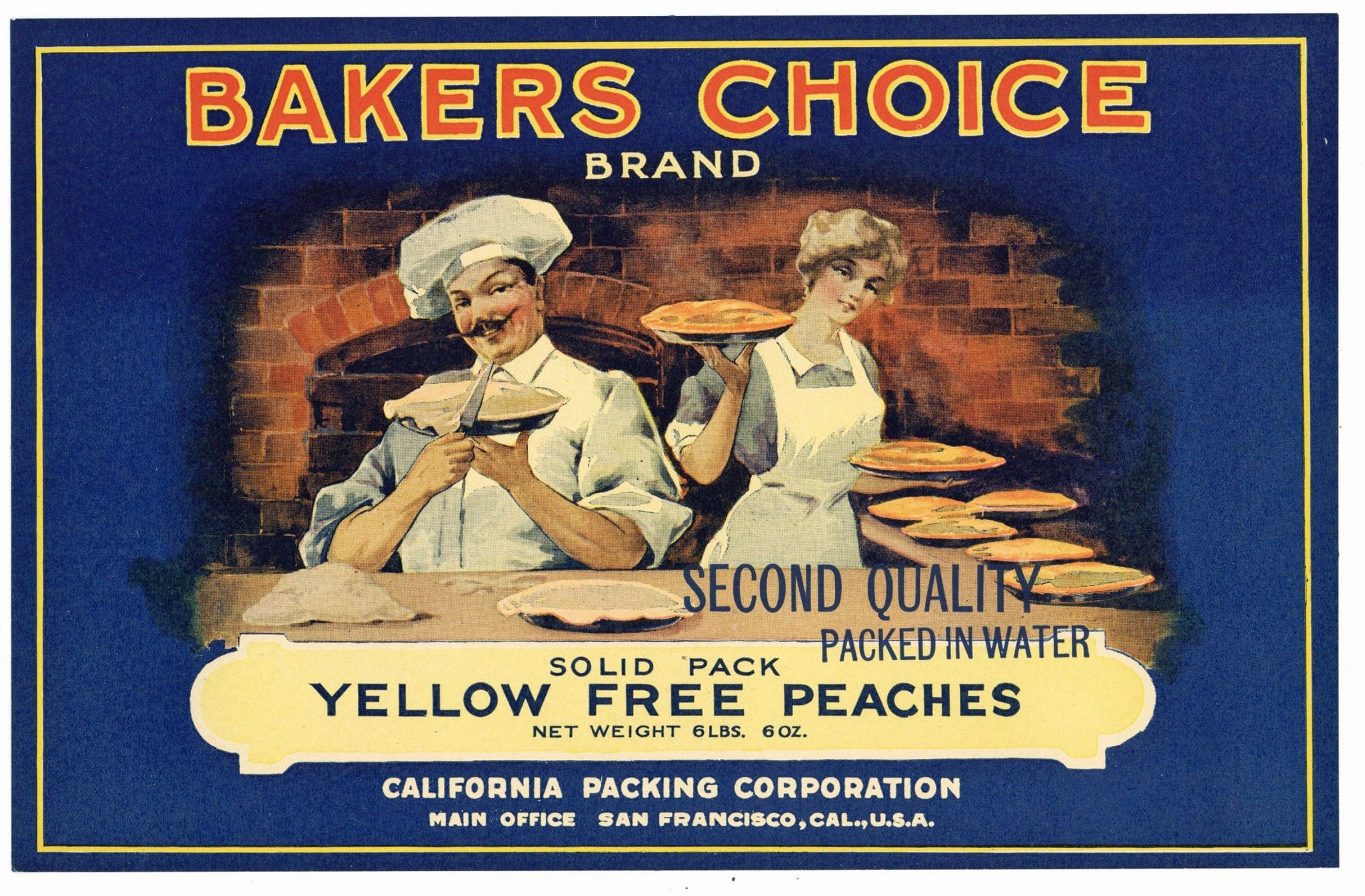 Bakers Choice Brand Vintage Peach Can Label
