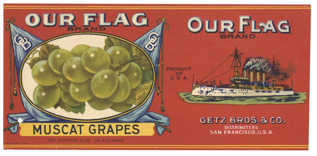 Our Flag Brand Vintage Getz Bros. Grape Can Label