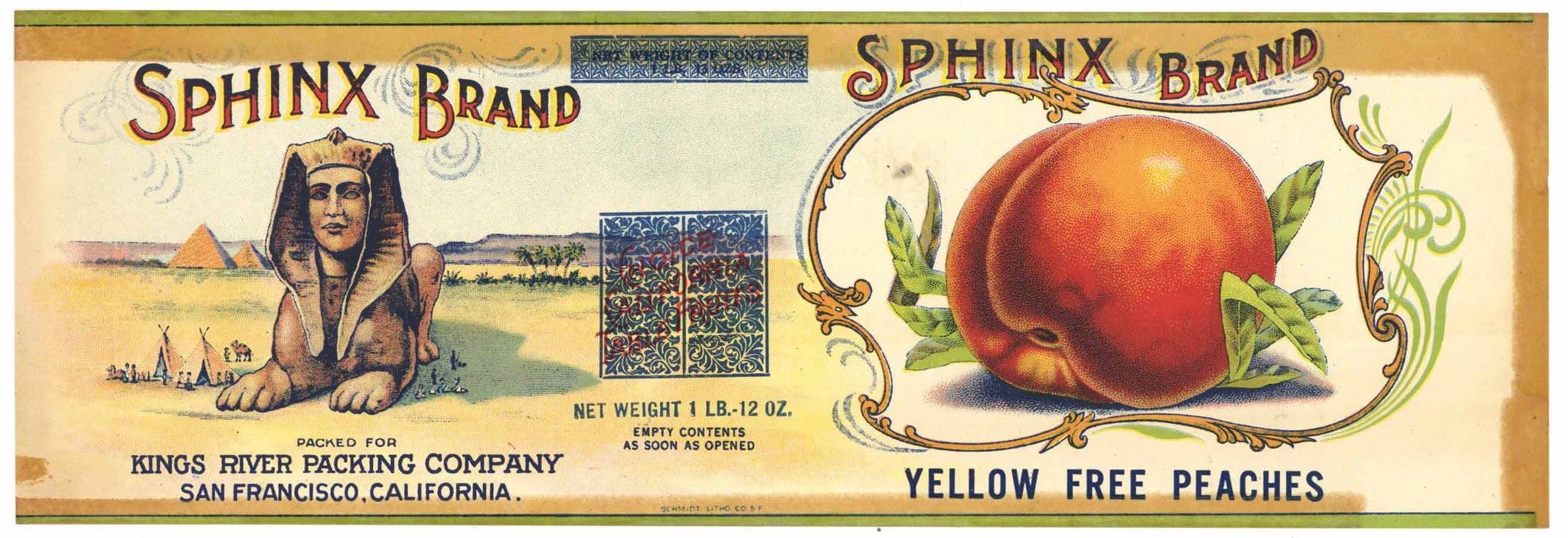 Sphinx Brand Vintage Peach Can Label