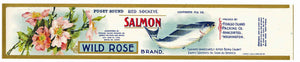 Wild Rose Brand Vintage Salmon Can Label, large flat