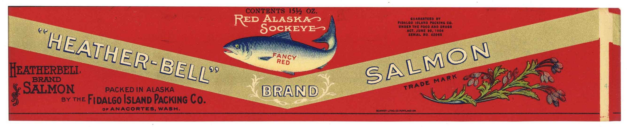 Heather Bell Brand Vintage Salmon Can Label, large flat