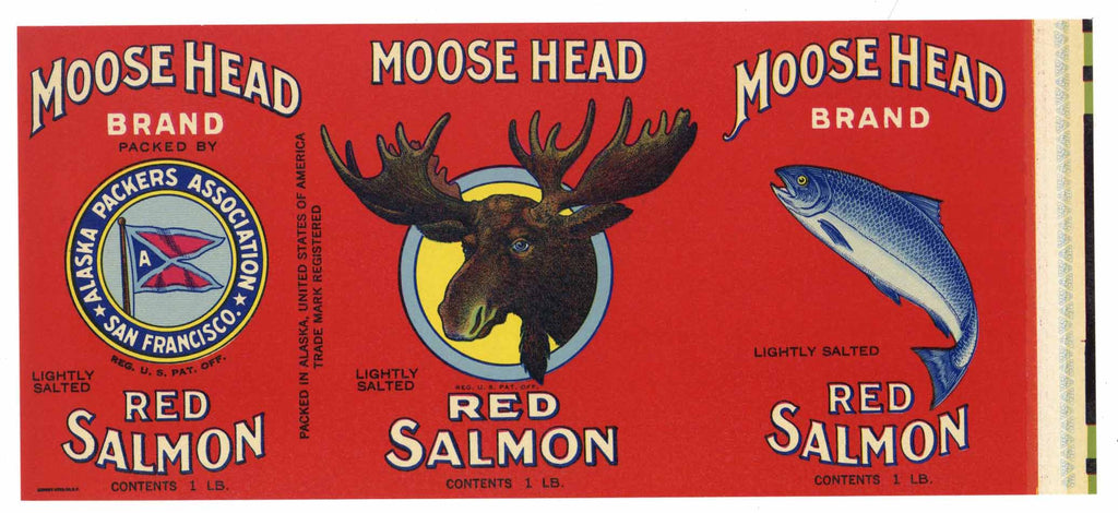 Moose Head Brand Vintage Alaska Packers Salmon Can Label