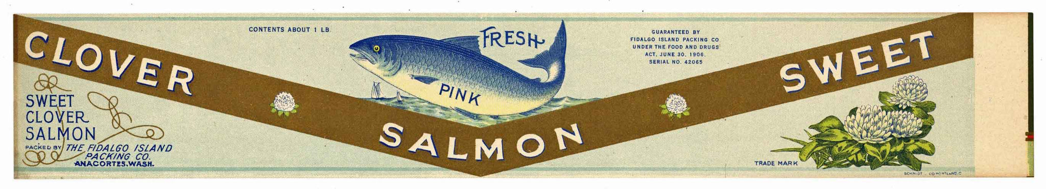 Clover Brand Vintage Salmon Can Label, large flat
