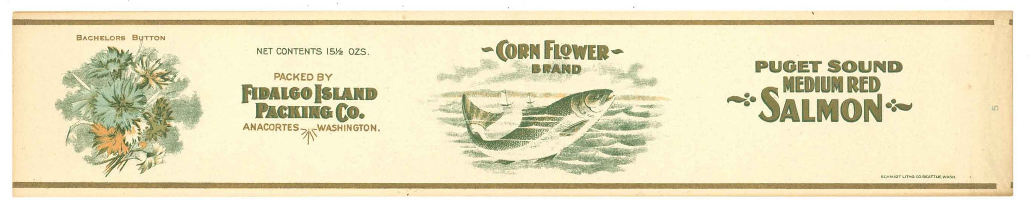 Corn Flower Brand Vintage Salmon Can Label, large flat