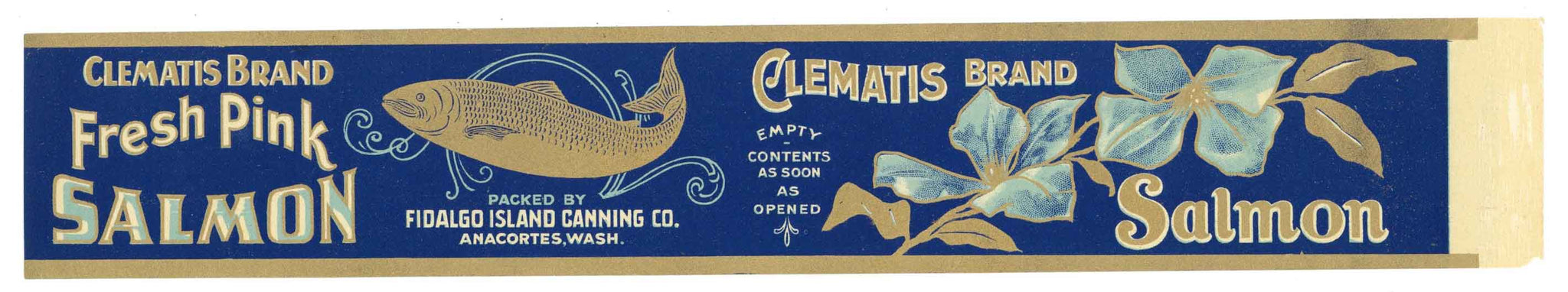 Clematis Brand Vintage Salmon Can Label, large flat