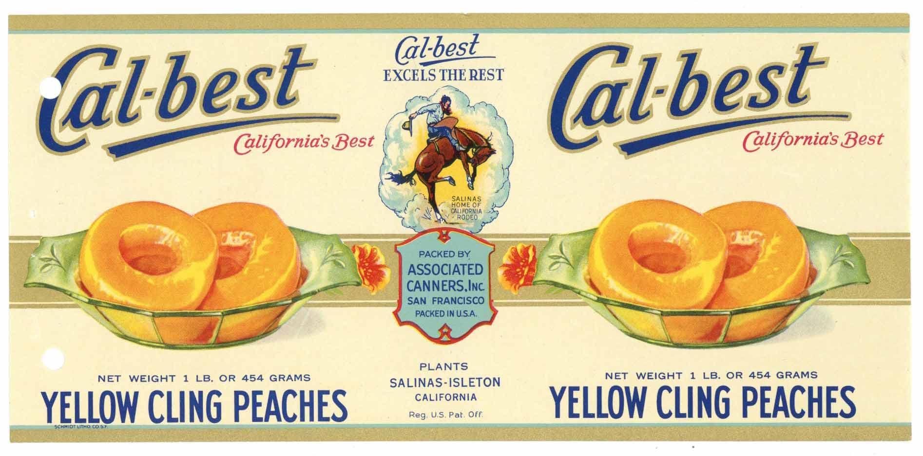 Cal-Best Brand Vintage Salinas Isleton Peach Can Label, holes