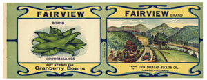 Fairview Brand Vintage Norridgewock Maine Bean Can Label