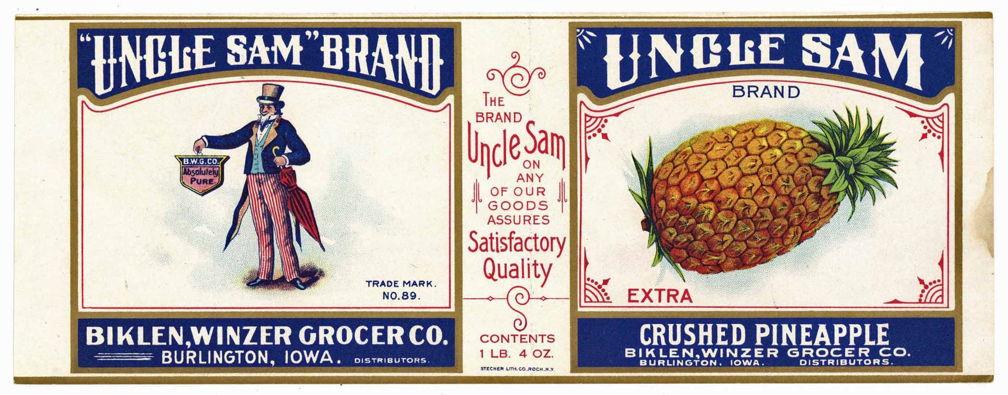 Uncle Sam Brand Vintage Burlington Iowa Pineapple Can Label