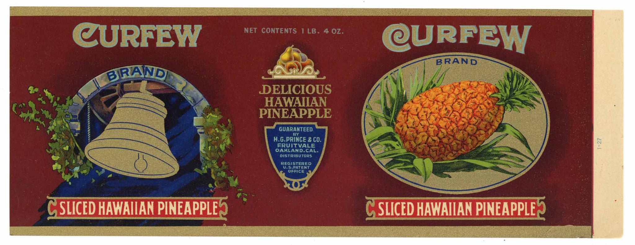 Curfew Brand Vintage Oakland Fruitvale Pineapple Can Label