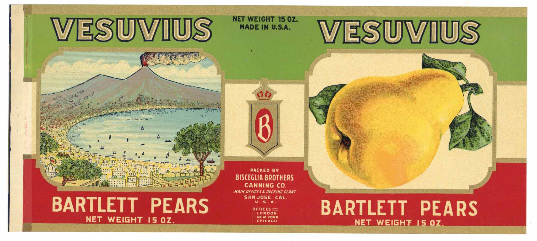 Vesuvius Brand Vintage San Jose Pear Can Label