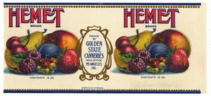 Hemet Brand Vintage Golden State Canneries Can Label