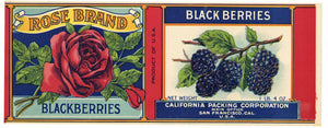Rose Brand Vintage  Blackberries Can Label