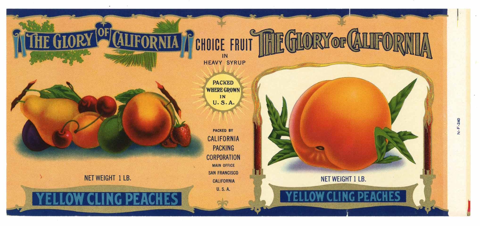 The Glory Of California Brand Vintage Peach Can Label