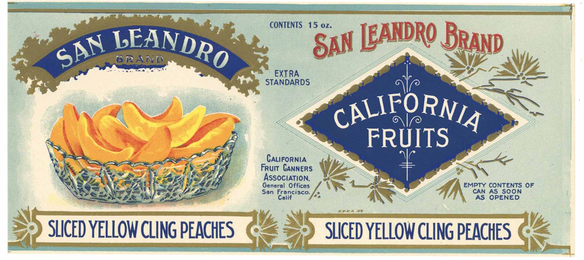 San Leandro Brand Vintage Alameda County Peach Can Label