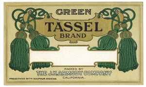 Green Tassel Brand Vintage J. K. Armsby Dried Fruit Label