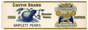 Griffin Brand Vintage Cutting Packing Pear Can Label