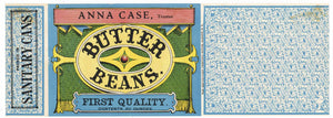Anna Case Brand Vintage Butter Beans Can Label, Shaker