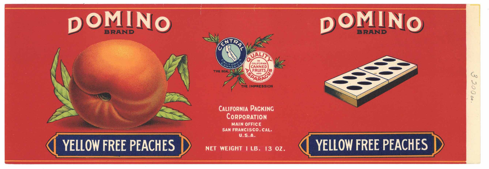 Domino Brand Vintage Peach Can Label