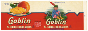 Goblin Brand Vintage Hampton Iowa Peach Can Label