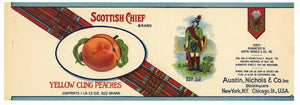 Scottish Chief Brand Vintage Cling Peach Can Label