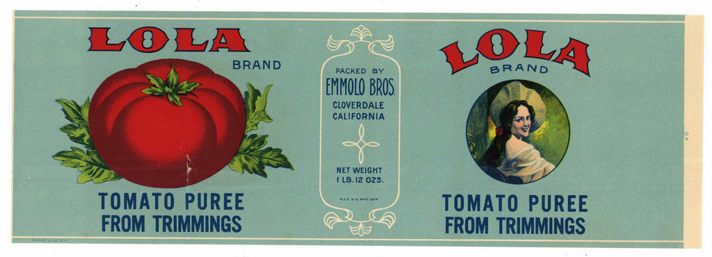 Lola Brand Vintage Cloverdale Tomato Can Label