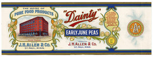 Dainty Brand Vintage St. Paul Minnesota Pea Can Label