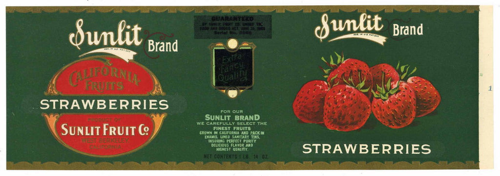 Sunlit Brand Vintage Strawberry Can Label