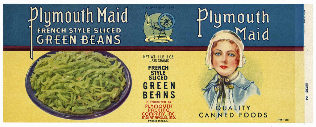 Plymouth Maid Brand Vintage Indianapolis Indiana Green Beans Can Label