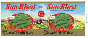 Sun-Blest Brand Vintage Green Beans Can Label