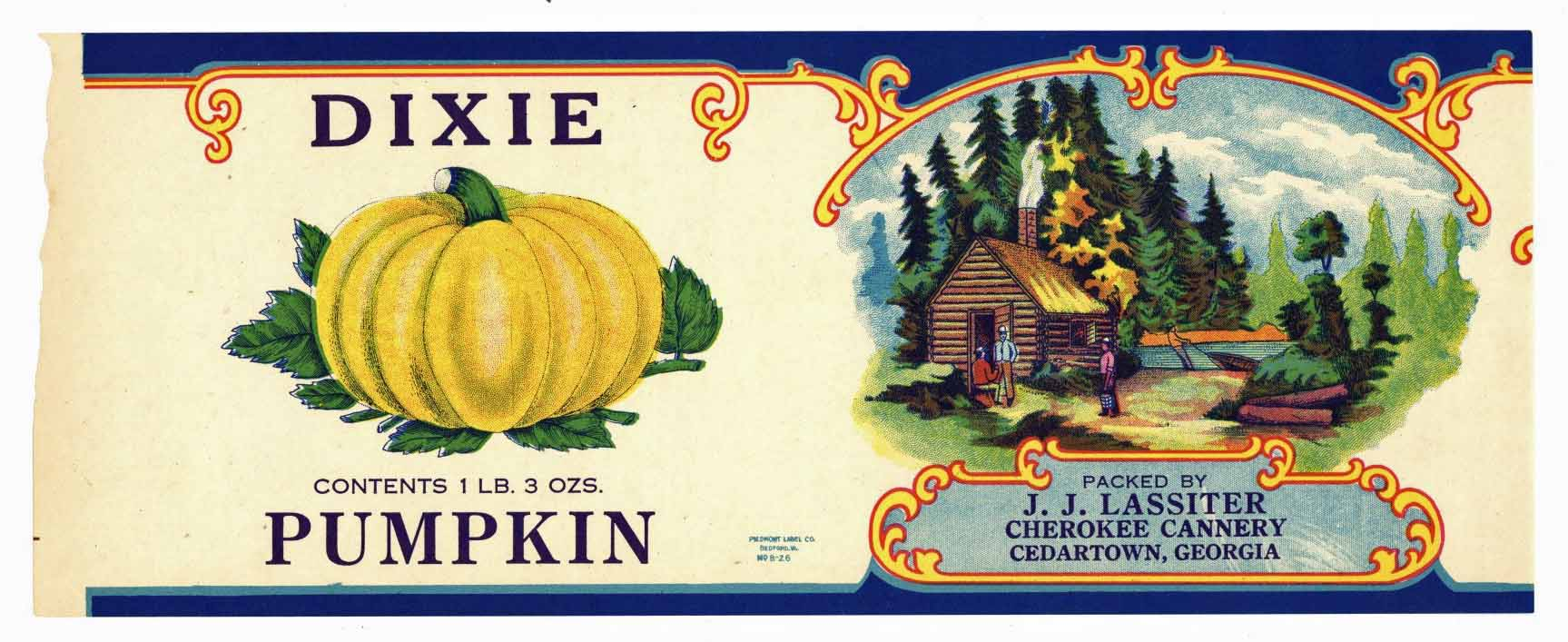 Dixie Brand Vintage Georgia Pumpkin Can Label