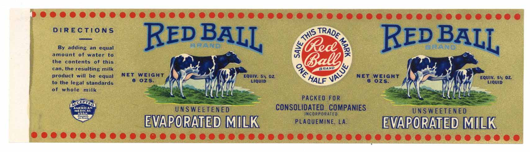Red Ball Brand Vintage Plaquemine, Louisiana Milk Can Label