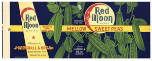 Red Moon Brand Vintage Baltimore Maryland Peas Can Label
