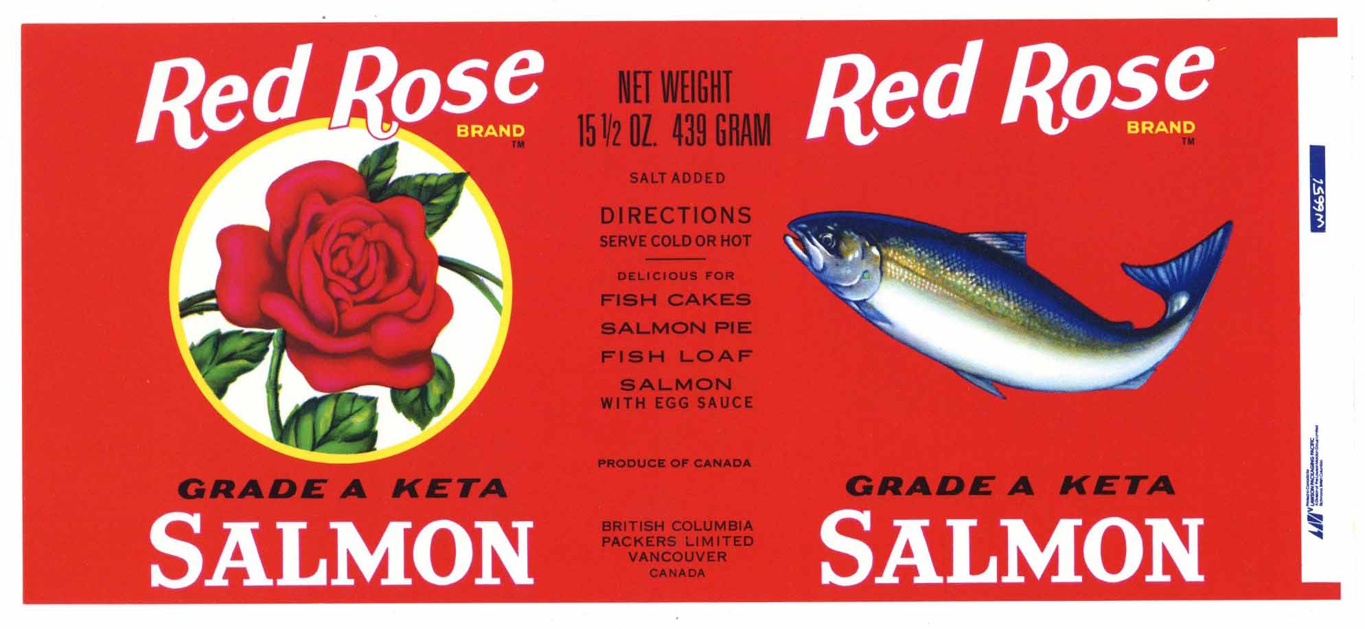 Red Rose Brand Vintage Vancouver Canada Salmon Can Label