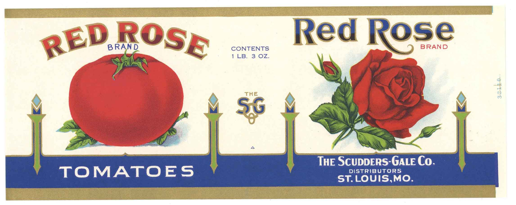 Red Rose Brand Vintage St. Louis Tomato Can Label