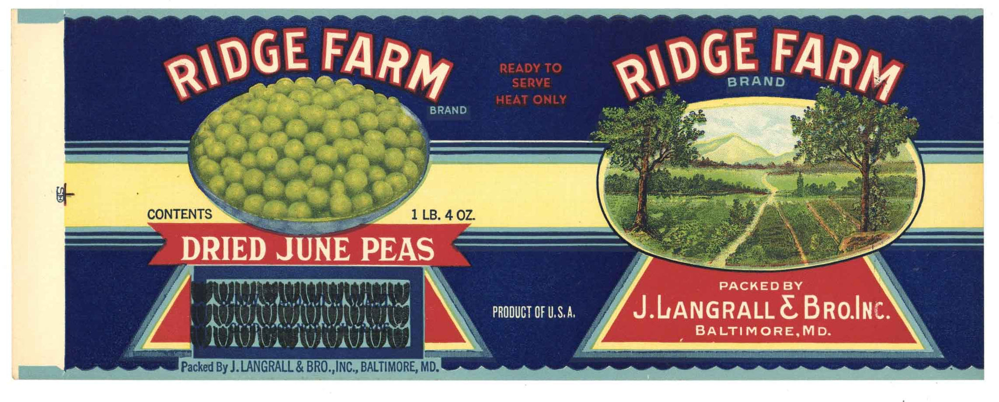 Ridge Farm Brand Vintage Baltimore Maryland Peas Can Label