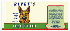 Rivet's Brand Vintage Joliet Illinois Dog Food Can Label