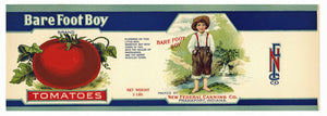Bare Foot Boy Brand Vintage Indiana Tomato Can Label