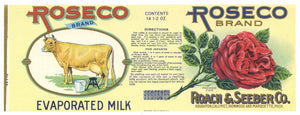 Roseco Brand Vintage Michigan Evaporated Milk Can Label, L